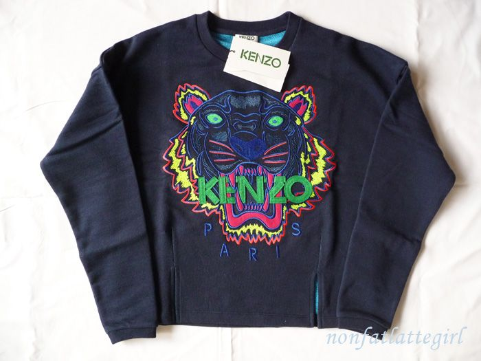 New SS 2013 Kenzo Paris Tiger Sweater sweat Shirt Jumper Blue Women