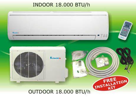 Klimaire 18000 Ductless Split Heat Pump Air Conditioner