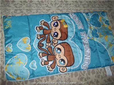 The Littlest Pet Shop MONKEY Sleeping Bag {Unzips to Blanket