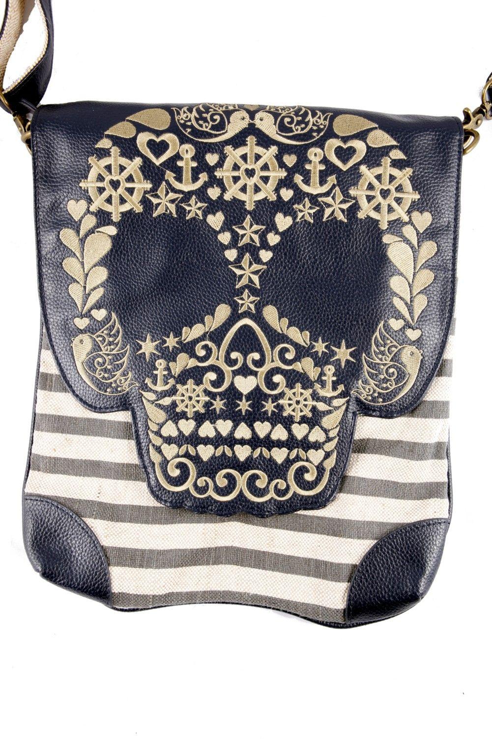 Loungefly Cross Body Bag in the Gold Skull Stripe Nautical Sugar Skull