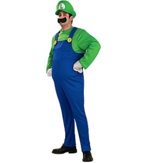 Super Mario Bros Deluxe Luigi Costume Adult Large New