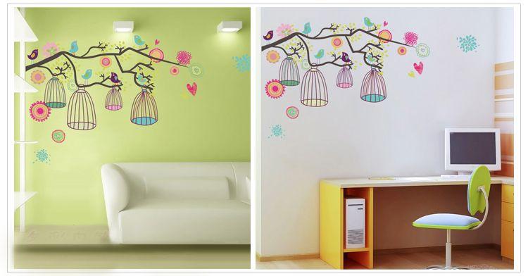 Mediterranean Style Happy Color Birdcage Flower Tree Nursery Wall