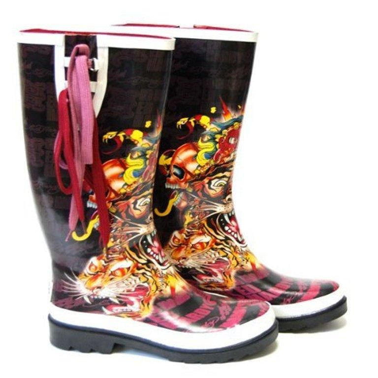 Womens Ed Hardy Seattle Rain Boots Wellies Black Tiger 5 35