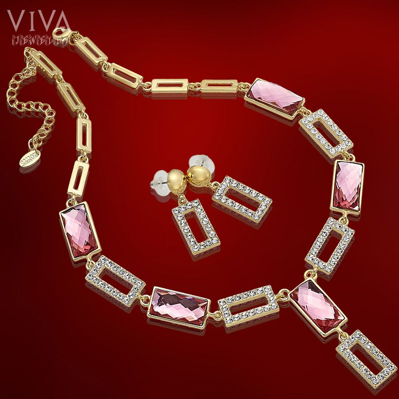 Crystal Beauty Pink 18K Gold Plated Necklace Earrings Jewellery Set