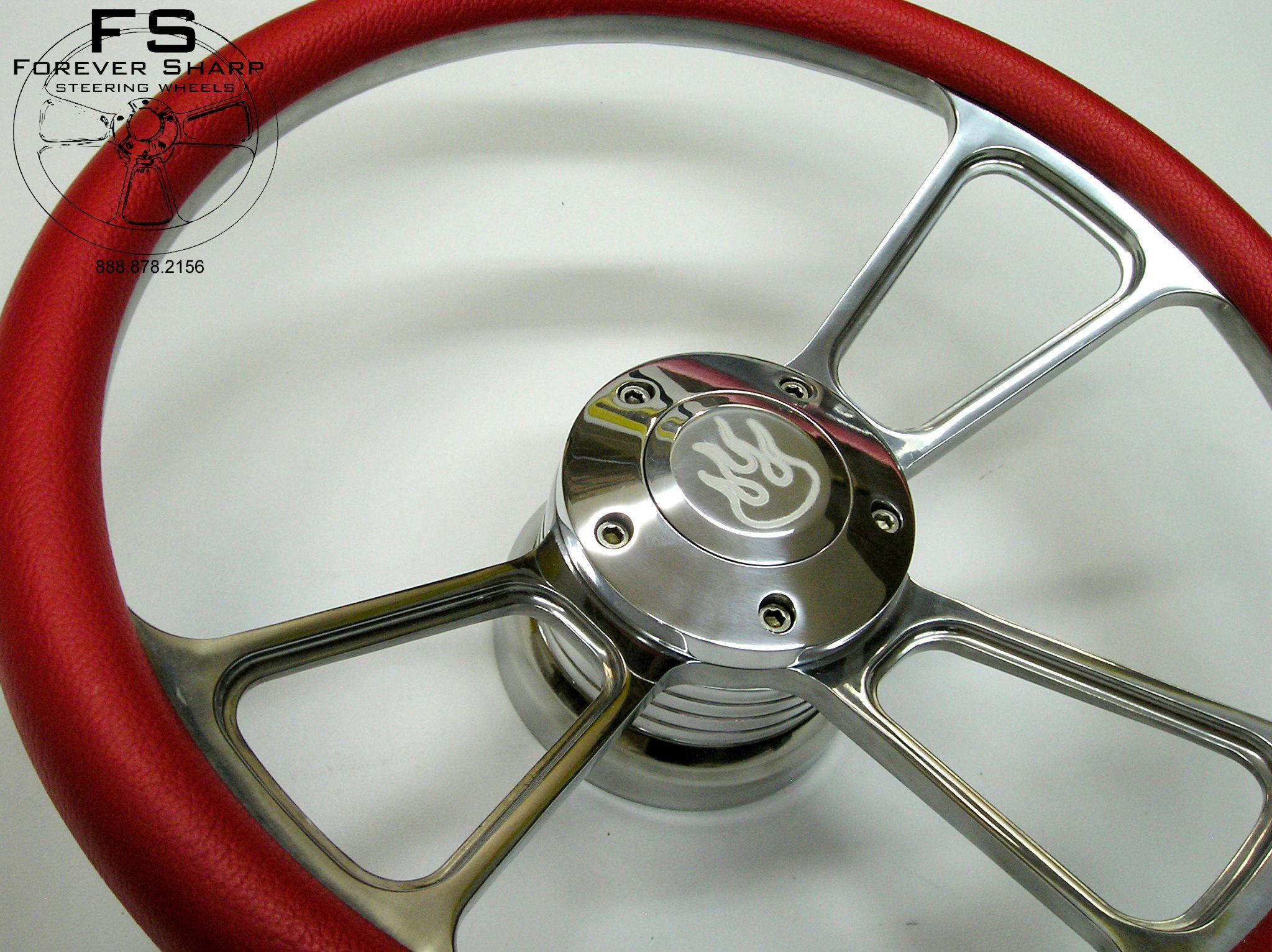 84UP Club Car Golf Cart Billet Steering Wheel Red Flame