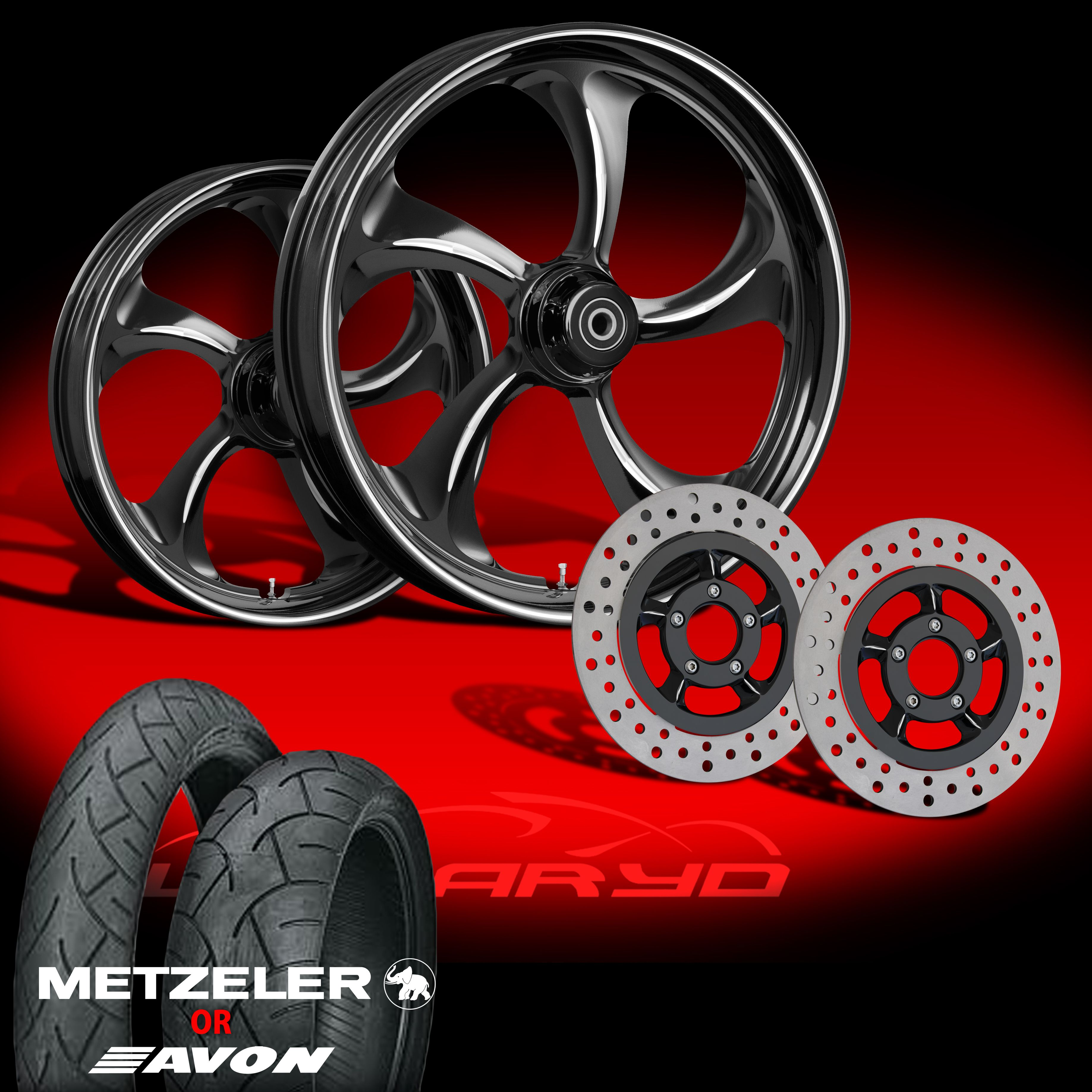 Wanaryd Rollin Black 21 Wheels Tires Dual Rotors for 2000 08 Harley