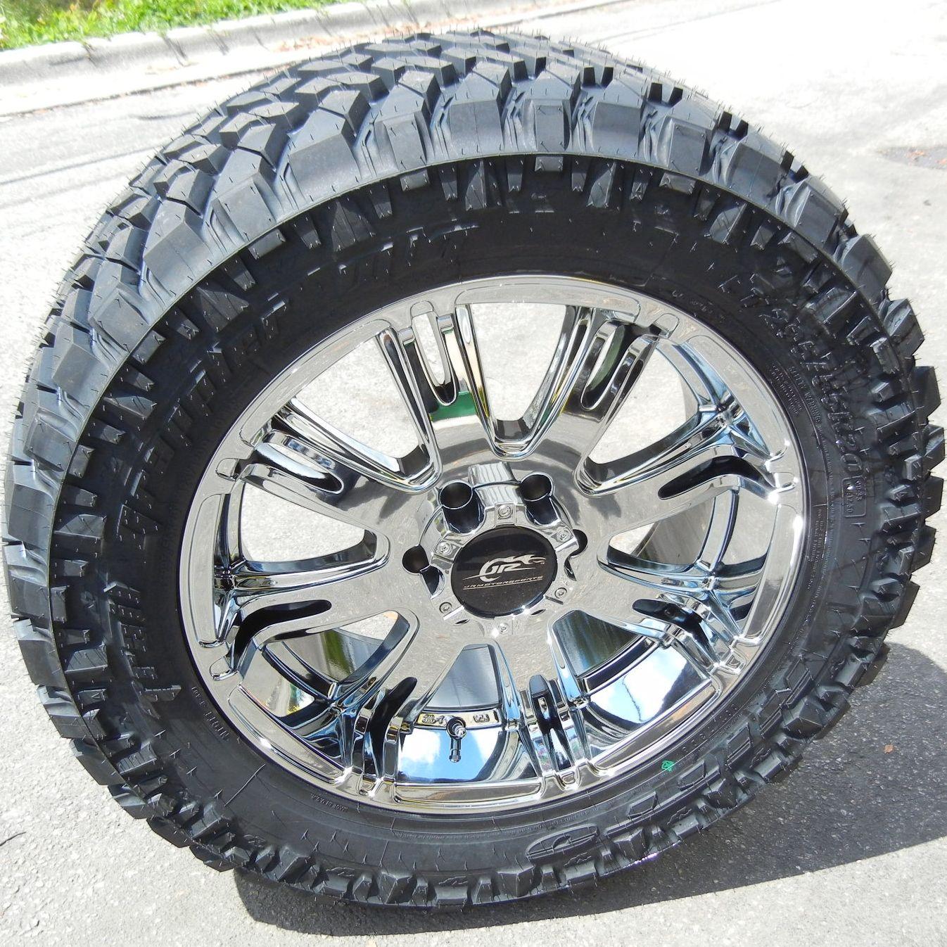 20 Chrome Dale Jr Wheels Nitto Trail Grappler Tires Chevy GMC Ford