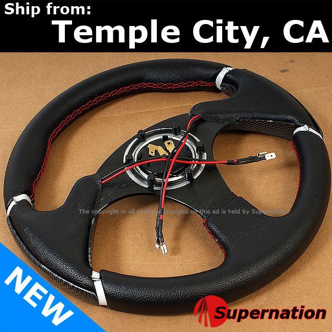 JDM Carbon Fiber Style Racing Steering Wheel Beginner Badge Horn with
