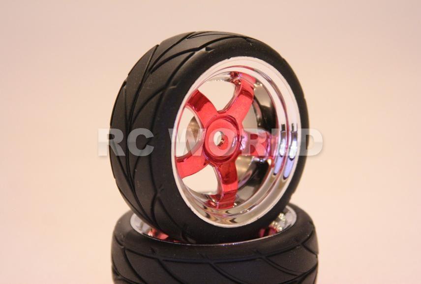 RC 1/10 CAR TIRES RED WHEELS CHROME RIMS PACKAGE SEMI  SLICKS KYOSHO