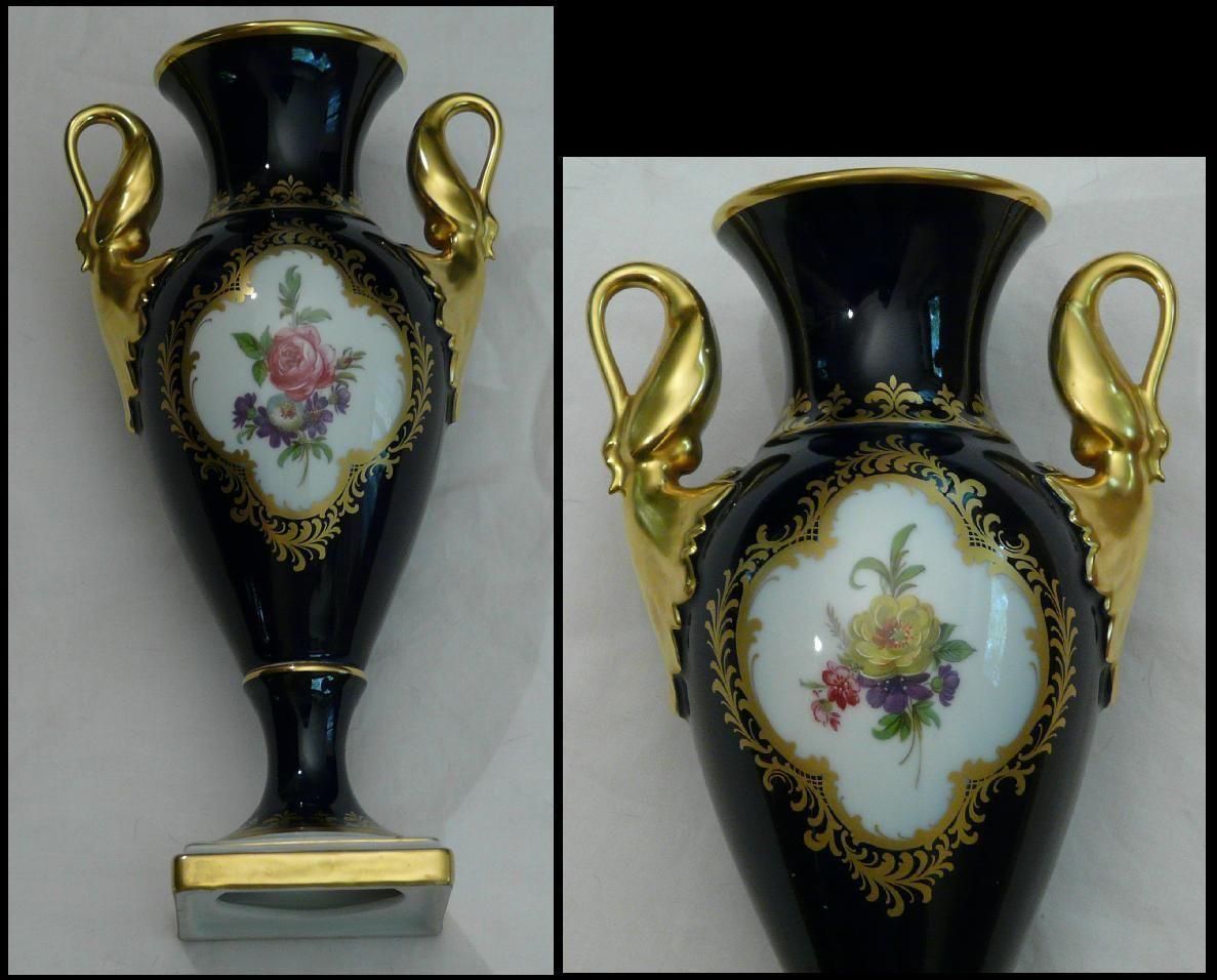 Porzellan gr. Vase Royal Kobalt Gold Schwanenhenkel 28,5cm