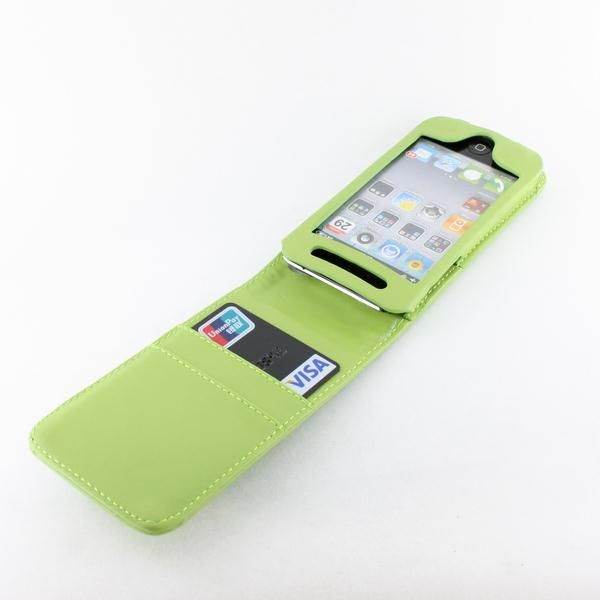 GREEN LEATHER FLIP CASE COVER For IPOD TOUCH 4THGEN 4G