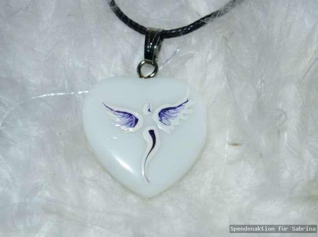 SPENDENAKTION♥ Onyx Engel Anhänger Handgemalt Energieschmuck