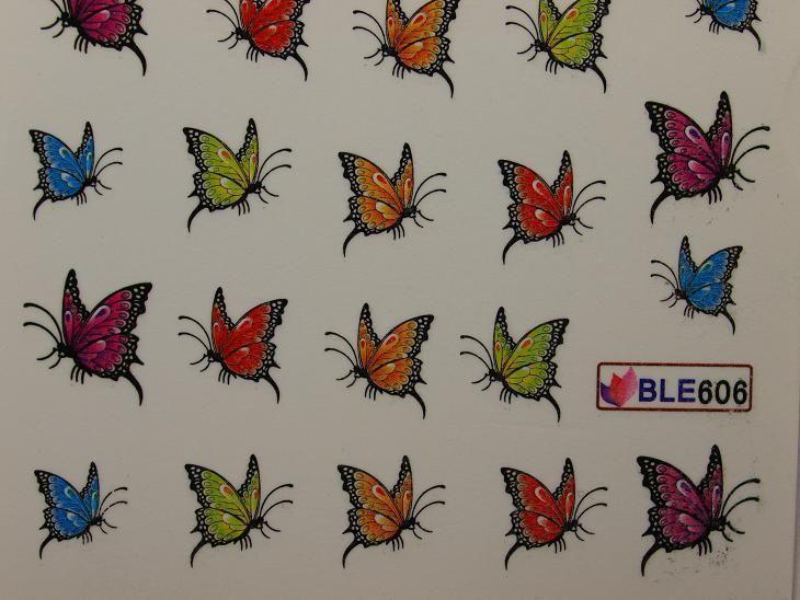 Nail Art Sticker Tattoo One Stroke BLE 606 Schmetterlinge