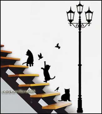 Cat&Lamp PVC Wall Stickers Art Decals Beautiful Home Improvement