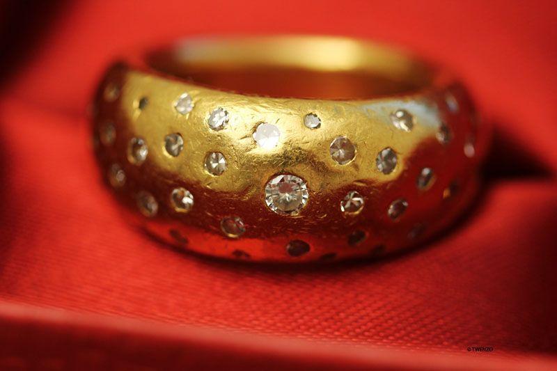 Gold Ring 999 Diamant Brillant Reingold